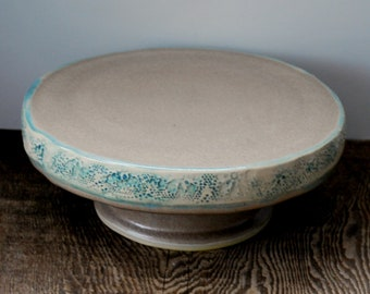 "9"" Ceramic Cake Stand  or Cake Plate Tan with Aqua Textured Edges Wheel Thrown Stoneware Pottery Ready to Ship"