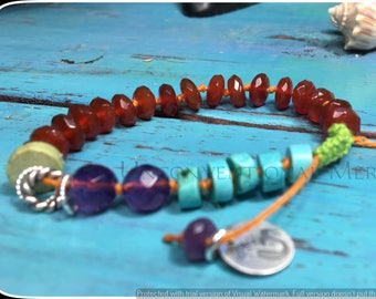 Macrame Bracelet, Summer Bracelet, Hemp Bracelet, Beach Bracelet, Faceted Carnelian, Amethyst, Turquoise and Sterling Silver Hemp Bracelet
