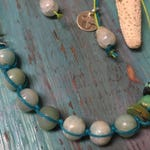 Adjustable Amazonite Turquoise and Sterling Silver Hemp Choker