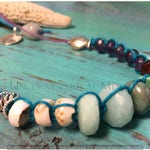 Adjustable Shell, Turquoise, Faceted Amethyst, Snakeskin Agate, Amazonite Faceted Carnelain and Sterling Silver Hemp Choker