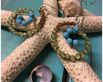 Summer Jewelry, Scroll Earrings, Wire Wrapped Earrings, Peidot Earrings, Swarovski Turquoise, Topaz and Peridot Beaded Scroll Earrings