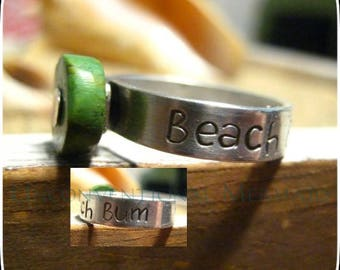 "Sterling Silver ""Beach Bum"" Turquoise Ring Size 8"