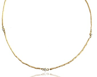 14k diamond twig chain