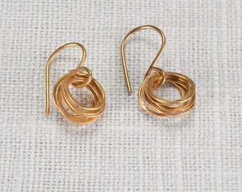 18k tiny circles earrings