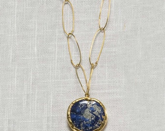lapis pendant on handmade chain