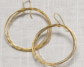 large hammered circle earrings