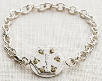 sterling, 18k, diamond medical i.d. bracelet