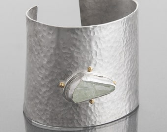 thick hammered cuff with aquamarine