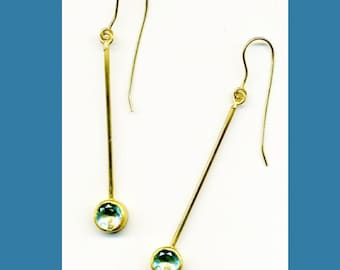 18k earrings with topaz drop