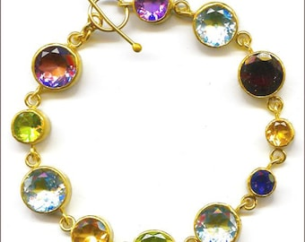 22k bracelet with faceted stones