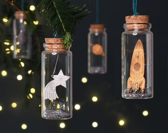 Set of Four Space Themed Christmas Glass baubles, Christmas Tree Decoration, Hanging Ornament Set, Moon, Space Rocket, Shooting Star, Planet