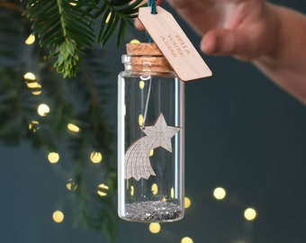 Shooting Star Message Bottle Christmas Decoration, Xmas Star Glass Bauble, Personalised Gifts, Space Theme Tree Decoration, Tree Ornament