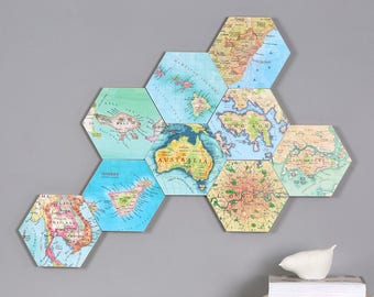 Personalised map hexagon wall blocks - wall art - custom art block - Map gift - personalized gift for him - Globetrotter gift - moving gift