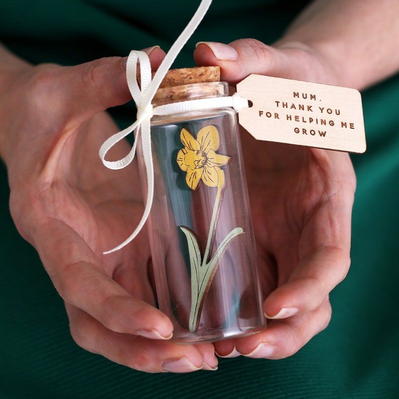 Daffodil Message Bottle With Personalised  Mothers Day Wooden image 0