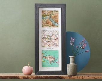 Hello Will You I Do Three Map Print, Custom Map Wall Art, Custom Map Square Print, Personalized Valentine, Wedding Anniversary Map Gift