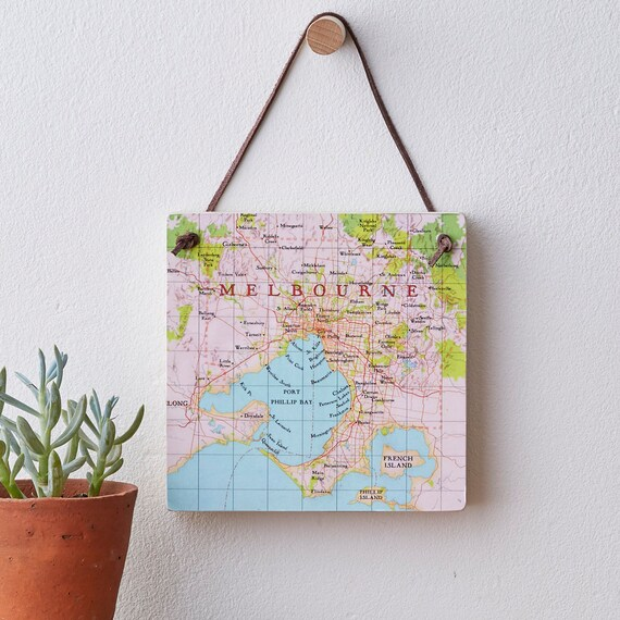Personalised Melbourne Map Map Location Hanging Block Wall Art Etsy