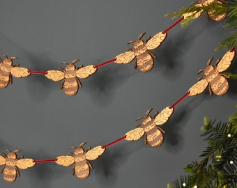 Gold Bumble Bee Christmas Garland decoration, Handpainted Bee Bunting hanging Decoration, Holiday Decor, Ornament, Bombus Ornament