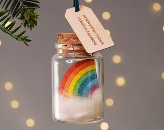 Rainbow Christmas Tree Decoration, Personalised Ornament, Rainbow Keepsake Gift, Holiday Ornament, Christmas Decoration, Personalized Gifts