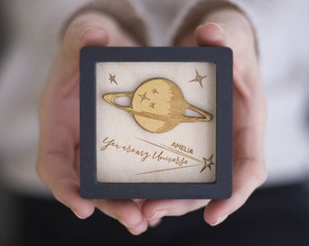 Miniature Wall Art Frame - You Are My Universe Personalised -  Romantic Valentine Gift - Anniversary Gift For Him
