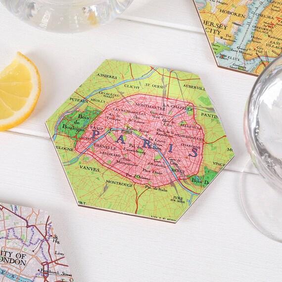 Paris Map Location Drinks Coasters Etsy