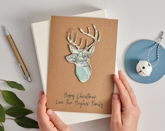 Custom Map Personalised Stags head Christmas Card, Custom map christmas card, Holiday greetings card, Family christmas card, Luxury card