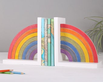 Rainbow Bookend for children's room - Shimmery wood personalised nursery decor gift for a new baby girl - book lover present