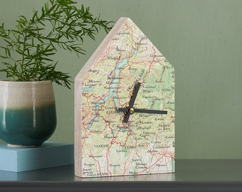 New Home Gift, Custom Map Wall Clock, Personalised Vintage Map House Shaped Clock, Handmade Clock, Home Decor Couples gift, For a couple