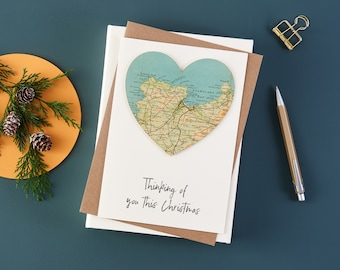 Custom Map Christmas card, Map Heart Christmas Card, Vintage Map Family Christmas card, luxury card, Personalised Xmas Cards