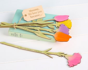 I Love You Because…Personalised Flowers - Mothers day gift - gift for mum - gift for wife - girlfriend gift - flowers - wooden flowers