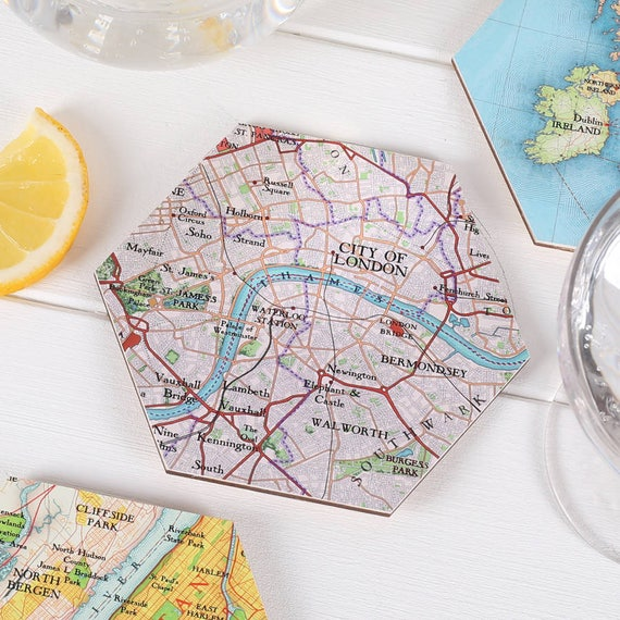 City Of London Map Location Drinks Coasters Map Gift Etsy
