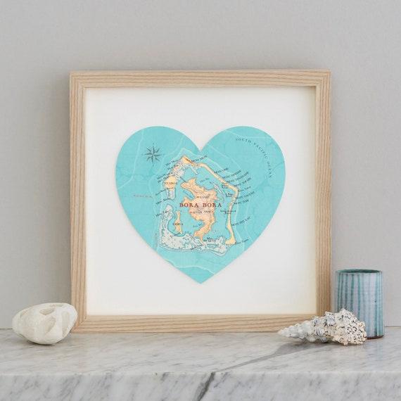 Bora Bora Map heart Print custom map wedding gift | Etsy