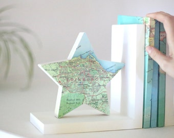 Custom Map Bookends, Star Bookends, Graduation Gift For Her, Map Star Bookend, Custom map Location, City Map Gift, Wooden Bookend