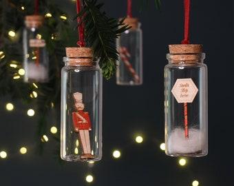Set of Four Christmas Glass baubles, Christmas Tree Decoration, Hanging Ornament Set, Candy Cane Decor, Nutcracker, Santa Stops Here,