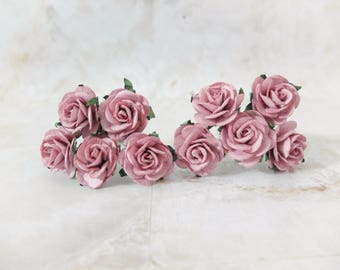 Dusty pink flowers etsy 10 25mm dusty pink paper roses 1 mulberry paper flowers mightylinksfo