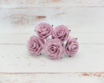 5 35mm iris lilac mulberry roses (style 1) - soft purple