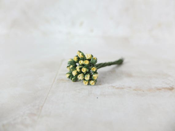 25 3mm mini paper light yellow rose buds tiny paper flowers etsy image 0 mightylinksfo