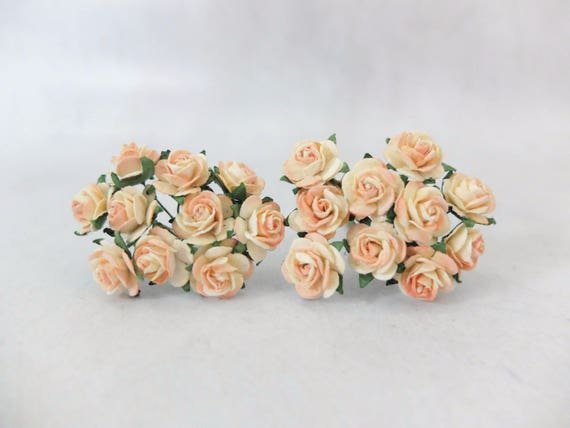 Paper Roses 15mm Dual Colors Roses Light Yellow Peach Tip Etsy
