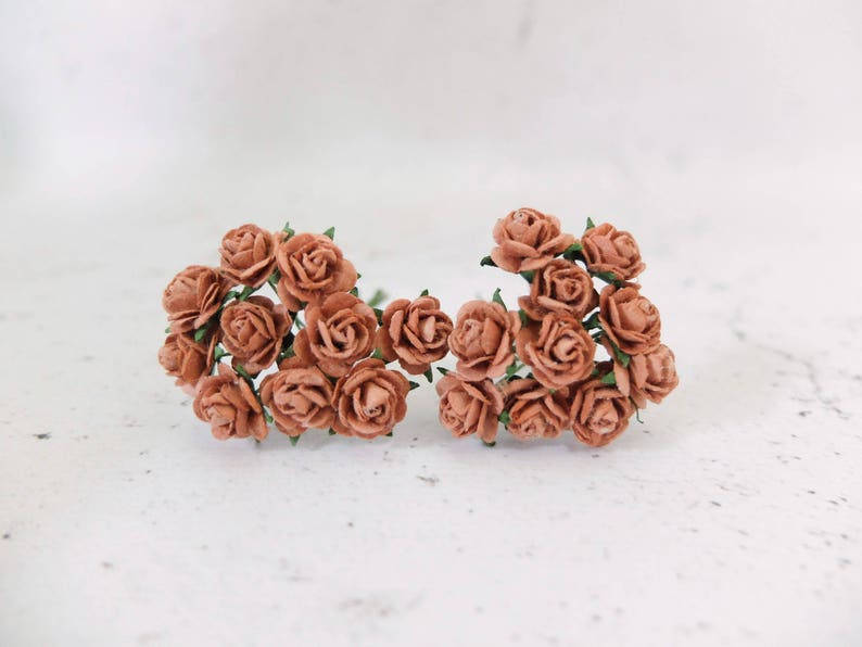 20 10mm Light Chocolate Brown Paper Roses 1 Cm Brown Paper Etsy