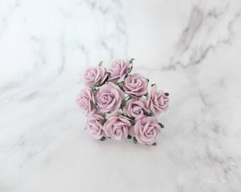 10 - 20mm lilac mulberry roses - 2 cm paper flowers