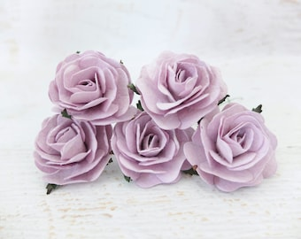 5 50mm/2 inches lilac mulberry roses