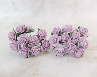 20 lilac mulberry paper roses (15mm)