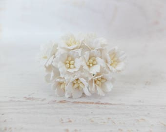 10 20mm white paper cherry blossoms - white paper flowers - 2cm white flower - mulberry paper cherry blossom