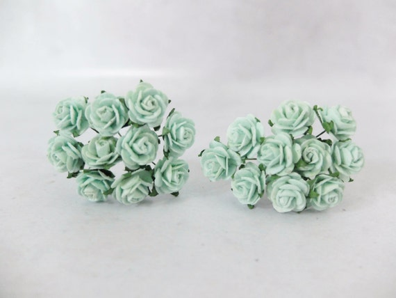 20 Mint Green Paper Roses 15mm Paper Flowers Mint Paper Etsy