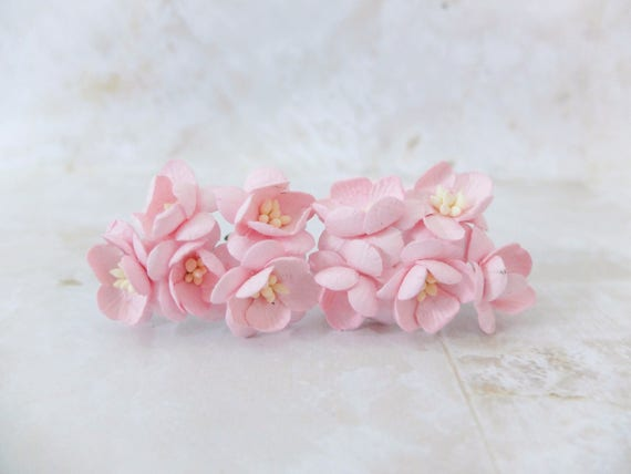 10 1 soft pink paper cherry blossom paper flowers with etsy image 0 mightylinksfo