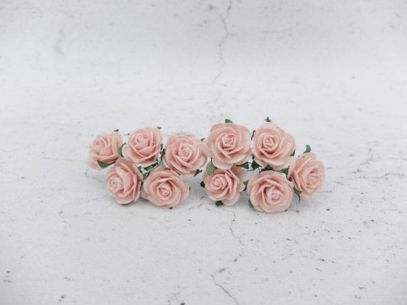 1cm Rosa Melocotón 50 Flores de papel de morera Boda Tarjeta En Miniatura