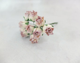 10 - 1.5 cm ivory lilac mulberry rose buds with wire stems