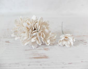20 20mm white mulberry flowers - 2 cm flowers
