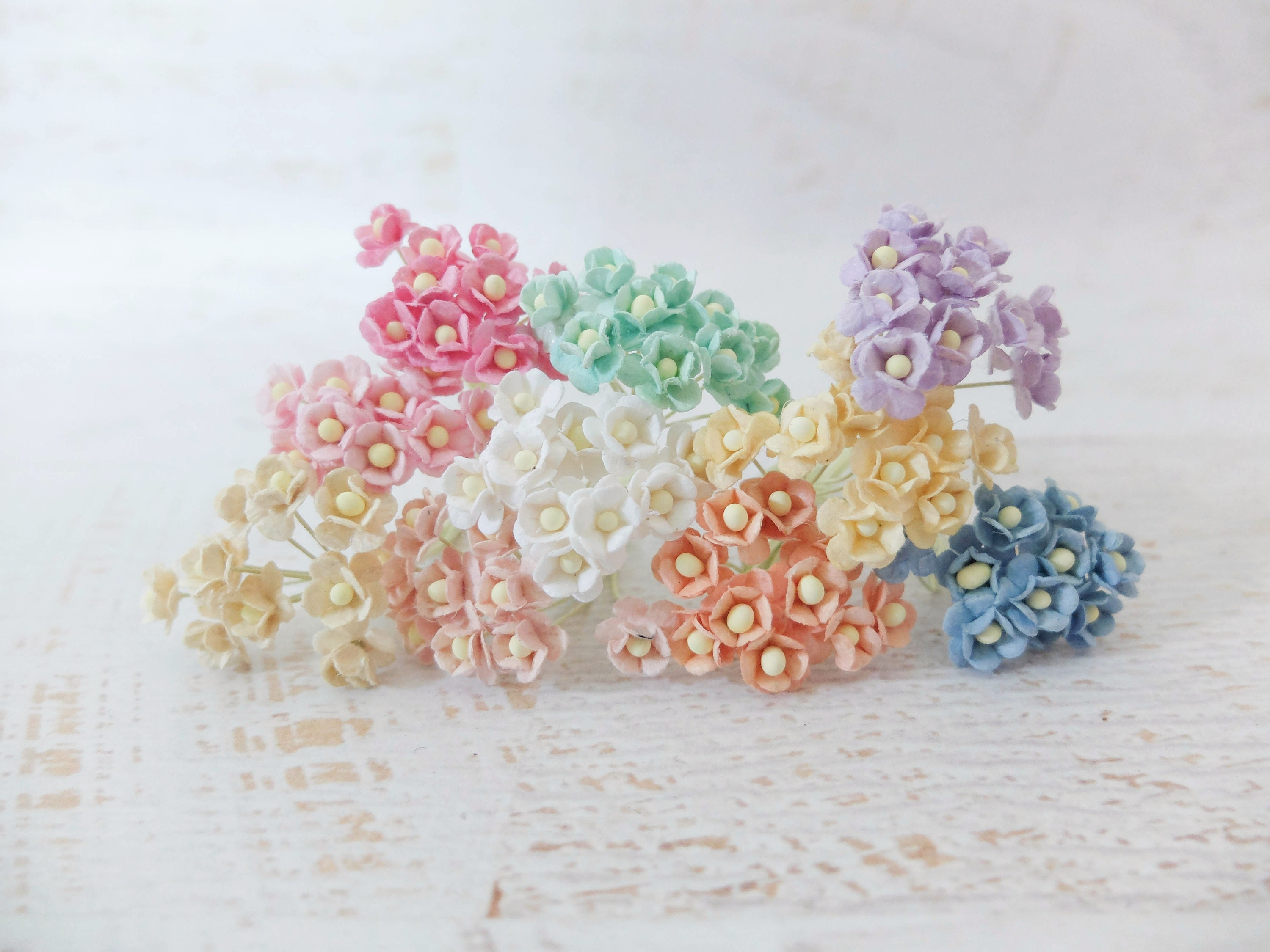 1 Cm Mulberry Paper Assorted Colors Paper Flowers Set 10mm Etsy