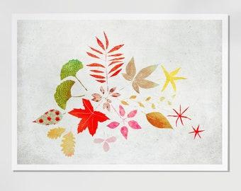 Autumn leaves, Print of an original illustration, Fall Wall art, Children room decor, Novembre