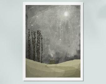 nuit 1 - Art - Print of an original illustration - wall decor - nursery art print - poster - house - night - dark
